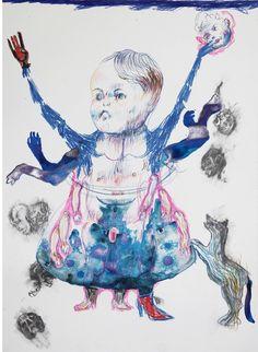 Florence Reymond / L'architecte et le loup : Fric freaks / 2010 / technique mixte sur papier / 24 x 29 cm