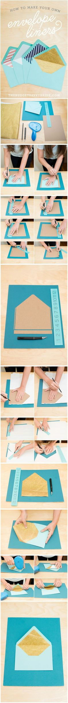 How to make your own colorful custom envelope liners! Step by step tutorial with