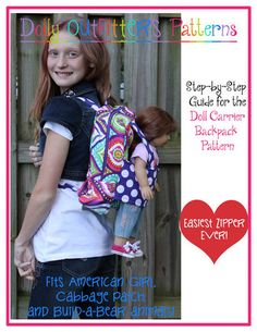 Large Doll Carrier Backpack For Girls Pattern PDF Download   Pixie Faire