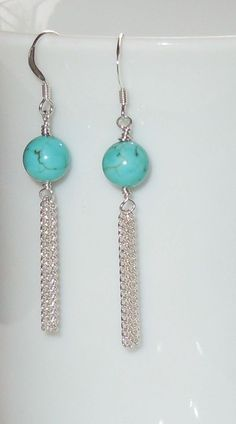 Genuine Polished Turquoise Bead & Silver Chain Earrings.