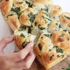 Pull Apart Garlic Bread.  Maybe use frozen dough or dough mix; looks like a brush of garlic butter at the end of baking would be good.
