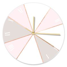 GEO SUNBURST ROSEGOLD PASTEL - Round Clock  By MONIKA STRIGEL®  Find everything you need for the most stylish & modern home office from planners & journals to greeting cards, gift wraps & more. Style everything from the furniture to the accessoires! You spend so much time in your office - and now you`re going to spend even more, because it`s the prettiest place ever! Add the neutral and classy nude, pink, white and rosegold tones to your workspace - you can`t go wrong!