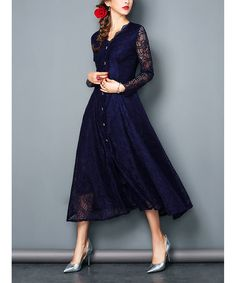 Another great find on #zulily! Navy Lace Button-Front Midi Dress #zulilyfinds