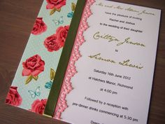 This wedding invitation called Petit Rose has been made using quaint floral deco paper in tones of blue, green and pink. It features pink paper lace and a green satin ribbon (9mm). The white paper, backing card and envelope (all matching) are luxuriously smooth and satiny without being pearlescent. Note that the backing card is 261 gsm to give the invitation strength, so it won't crumple or bend! (https://www.etsy.com/listing/109786085/petit-rose-wedding-invitation)