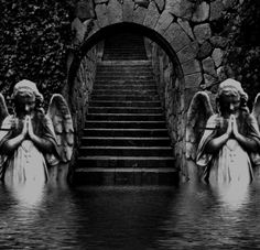 Stairway To Heaven Quotes. Abandoned Castles, Abandoned Mansions, Abandoned Buildings, Abandoned Places, Statue Ange, Cemetery Art, Cemetery Angels, Haunted Places, Spooky Places