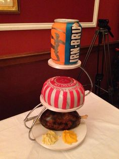Scottish wedding cake- Irn bru, Tunnock's teacake and haggis, neeps and tatties