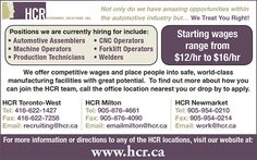 HCR is hiring: apply today at their Toronto, Milton or Newmarket location. http://www.jobclassified.ca/SearchResultAd.aspx?ac=J1624NISP069TDMN&fn=j1432jobu047tdmn.txt&kyw=J1624NISP069TDMN&ctgy=&cty=&pg=1