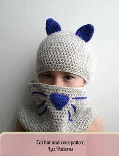 Crochet Patterns, Crochet Cat hat and cowl pattern, crochet baby cat hat pattern (180) #crochetpattern #crochet #crochetbabyhat