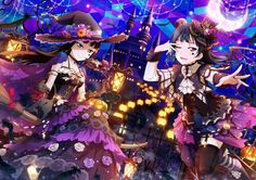 Halloween anime girls Love Live Sunshine witch bats vampire castle trick or treat cat