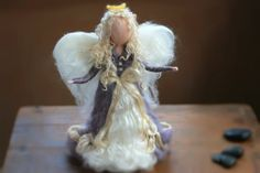 Needle Felted Christmas Angel Heirloom Lilac by CloudBerryCrafts, $75.00