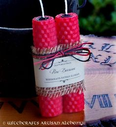 Witchcrafts Artisan Alchemy - REVERSING TWISTING Double Action Red Over Black Hand Rolled Pure Beeswax Spell Taper Candles, Set of 2, $10.95 (http://www.witchcraftsartisanalchemy.com/reversing-twisting-double-action-red-over-black-hand-rolled-pure-beeswax-spell-taper-candles-set-of-2/)