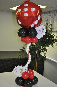 Gorgeous Balloon Themed Centerpiece! See more: http://www.internetbet.com/casino-centerpieces/ #centerpiece #centerpieceideas