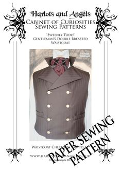 Please not this listing is for a PAPER SEWING PATTERN NOT A FINISHED VEST !  This is a pattern for a Mans stunning Victorian style fully tailored double breasted Steampunk waistcoat fully lined with welt pockets and standing collar.  • Includes 2 pattern sizes to fit 38- 44 chest. There is a good 3 ease of wear allowed in the pattern. All seam allowances are included in the pattern. Detailed instructions on making the waistcoat are included.  • Best made with wool or wool blend fabrics…