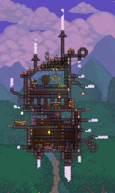 #terraria #steampunk #steampunker #house #floating #airship Terraria House Design, Terraria House Ideas, Steampunk House, Steampunk Design, Minecraft Steampunk, Steampunk Artwork, Floating House, Biomes, Creature Design