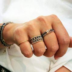 Wire Jewelry Rings, Beaded Rings, Jewelery, Beaded Bracelets, Beaded Jewelry Patterns, Fabric Jewelry, Custom Jewelry, Handmade Jewelry, Cute Friendship Bracelets