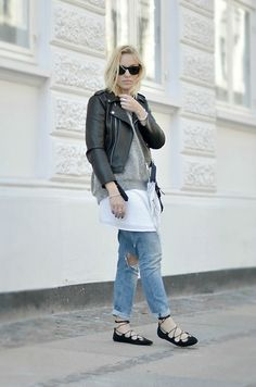 Cecilie Krog - Asos Lace Up Flats, H&M Ripped Jeans, Zara Biker Jacket, Knit, Mango Silk Dress - SPRING LAYERING