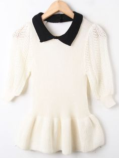 White Lapel Backless Hollow Ruffles Pullovers Sweater