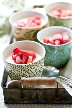 Lavender Panna Cotta with Poached Rhubarb. Mmmm. Seems a bit early yet, but come spring, I really want to try this!
