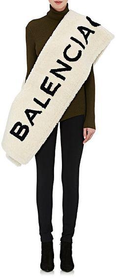 "Balenciaga Women's ""Balenciaga"" Lamb Shearling Scarf   #Chic Only #Glamour Always"