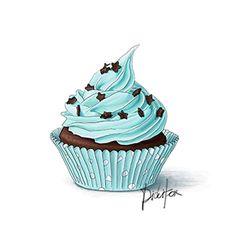 Blue Cupcake with Stars $7