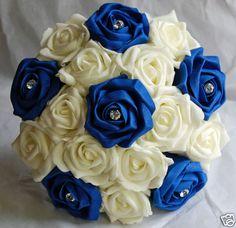 Bridesmaid Brides Ivory Royal Blue Diamante Wedding Bouquet 8 9 Wide
