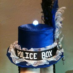 """Tardis Tiny Top Hat by ~FiveLeafCloverArt 'nother idea for the """"police box"""" band. i need a hat anyway :P Tardis Cosplay, Tardis Dress, Hat Template, Tardis Blue, Bbc Doctor Who, Blue Satin, Dr Who, Geek Chic, Geek Out"""