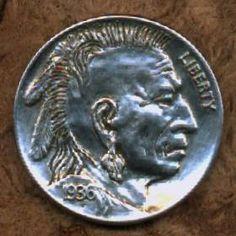 SONNY CARPENTER HOBO NICKEL - MOHAWK RONKWE - 1936 BUFFALO PROFILE Indian Theme, Indian Art, American Coins, Native American, Old Coins Value, Hobo Nickel, Coin Art, Coin Values, Antique Coins