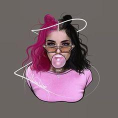 Swag Cartoon, Girl Cartoon, Cartoon Art, Beautiful Girl Drawing, Cute Girl Drawing, Girly Drawings, Cartoon Drawings, Dibujos Tumblr A Color, Instagram Cartoon
