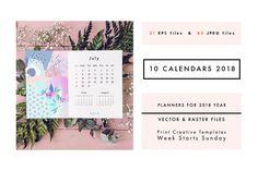 2018 CALENDARS set by Lera Efremova on @creativemarket