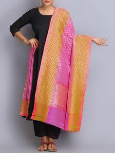 Buy Pink Orange Handwoven Benarasi Silk Dupatta Dupattas Woven Online at Jaypore.com