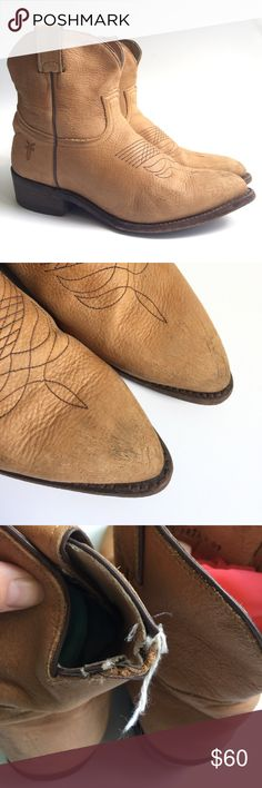 FRYE DISTRESSED LEATHER ANKLE COWBOY BOOTIES In used and pre loved condition with scuffs on the heels, soles, heel is worn down, back of the left boot has been chewed by an adorable puppy! Great for any outfit! Frye Shoes Ankle Boots & Booties