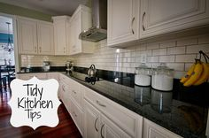 Tidy Kitchen Tips.  Great ideas to keep your kitchen clutter free!
