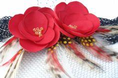 Red Flower Headband or Hair Clip Fascinatorhttp://www.etsy.com/shop/LudasPreciousDesigns