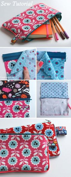 Pencil Case or Cosmetic Bag Tutorial ~ How to sew, free tutorial for beginners. Ideas for sewing projects. Step by step illustration. DIY Pencil Case or Cosmetic Bag Tutorial Cosmetic Bag Tutorial, Pouch Tutorial, Pencil Case Tutorial, Pencil Case Pattern, Sewing Hacks, Sewing Tutorials, Sewing Tips, Sewing Ideas, Bag Tutorials