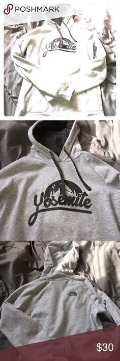 NWOT North Face Sweatshirt Gray and extremely soft. Shows your curves despite being a sweatshirt. Says yosemite on the front. Has been washed but not used The North Face Tops Sweatshirts & Hoodies