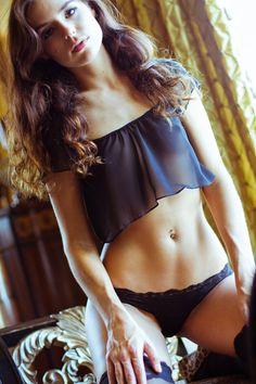 Valentines - Black Lingerie Sheer- Chiffon Crop Top- Medium - VDAY Color options