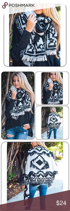 """Soft Scrumptious Boho Blanket Scarf Wrap Fringe Wrap yourself in bohemian style with this gorgeous fringe frayed edge diamond blanket scarf. 100% Soft Acrylic. Black & white 77"""" x 28"""" Accessories Scarves & Wraps"""