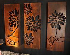Flower triple set by PO Box Designs. Visit our website for more info - http://ift.tt/1Tug0Hx - @poboxdesigns #screens #designer #corten #custommade #melbourne #sydney #adelaide #brisbane #perth