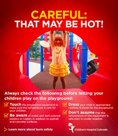 Playgrounds can be full of very hot surfaces. Prevent thermal burns by following these quick tips for children's safety!