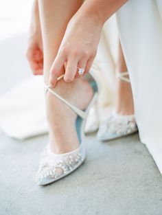Florence hand beaded wedding heel with cross ankle straps by Bella Belle Photography: Whiskers & Willow