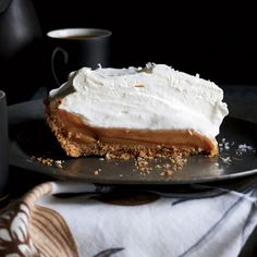 Salted Caramel Pie | This supereasy caramel lovers' dream pie is made with sweetened condensed milk sprinkled lightly with sea salt and baked until thick and gooey, then chilled in a simple graham cracker crust.