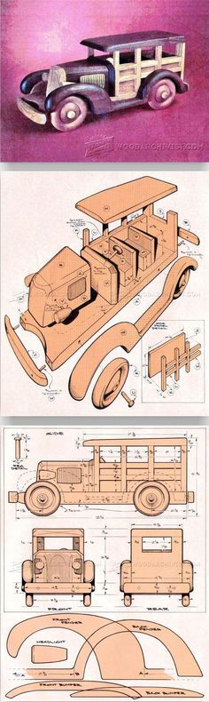 Woody Wagon Plans - Children's Wooden Toy Plans and Projects | WoodArchivist.com #woodentoy