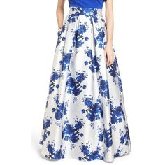 Women's Eliza J Floral Mikado Ball Skirt ($228) ❤ liked on Polyvore featuring skirts, royal, long floral skirts, long white skirt, flare maxi skirt, white floral maxi skirt and flared skirt