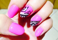 Pink, black aztec and silver glitter infill #amazeballs