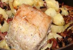 Rôti de porc aux champignons et petits lardons