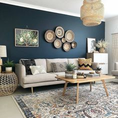 living room 393642823680485634 - deco bleu canard beige salon boheme Source by mademoisellepintade Interior Design Living Room Warm, Living Room Designs, Interior Modern, Modern Luxury, Bedroom Designs, Blue Accent Walls, Dark Blue Walls, Dark Blue Feature Wall, Dark Blue Bedroom Walls