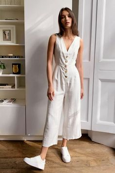 Jumpsuit Outfit, Casual Jumpsuit, Summer Jumpsuit, White Jumpsuit, Mode Kimono, Cute Casual Outfits, Elegant Summer Outfits, Casual Summer Dresses, Fashion Outfits