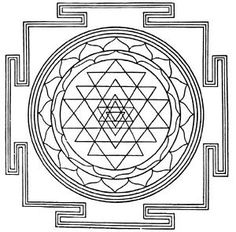 Shri Yantra - Tibetan Mandala that represents Creation. The triangles also correspond to the pattern of diminishining harmonies.