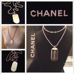 """AUTH CHANEL SILVER TONE LOGO ID TAG NECKLACE This is a guaranteed authentic CHANEL Logo Silver Tone Stripe Dog Tag Chain Charm Necklace , Excellent brand new condition , Chain Length 24"""" Inches long Brand CHANEL Style Chain Charm Color / Material Pink/Bluish-green / Enamel/Goldtone Size [inch] *W:0.94in x H:1.95in Size [cm] *W:2.4cm x H:5cm SKU Number e14290 CHANEL Jewelry Necklaces"""