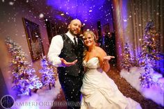 Winter wedding idea Snow at the entrance for the reception! Snow foam by Jamm Entertainment in Bham, AL Amber Ford Photography